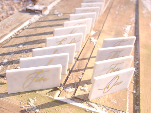 Gold Writing Marble Table Numbers