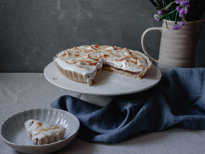 tarte vegan de (coco), chocolate e merengue