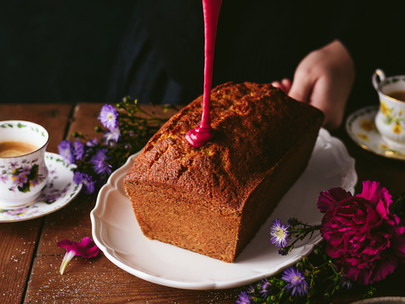 orange poppy seed cake with blackberry glaze