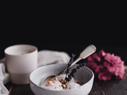 COCONUT MILK AND LAVENDER ICE CREAM WITH ROASTED HAZELNUTS