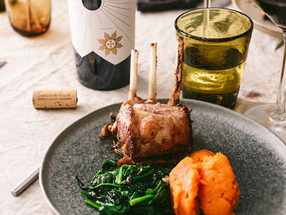 roast rack of lamb with sweet potato puree