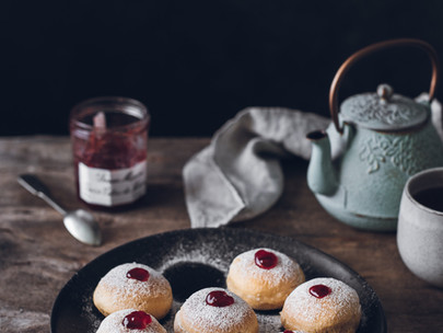 baked beignets with strawberry jam filling