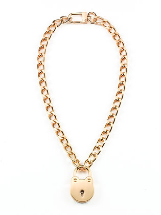 Chain-Link Round Lock Necklace