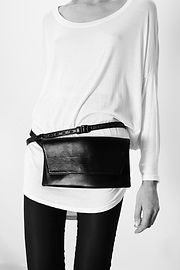 waist bag, fanny pack, leather belt bag, black leather clutch, clutch bag, made in USA handbags
