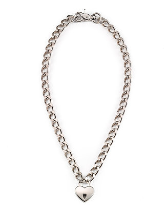 Chain-Link Heart Lock Necklace