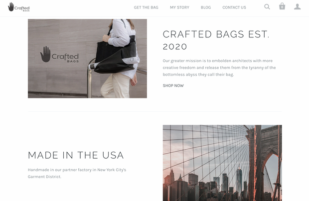 Crafted Bags Website