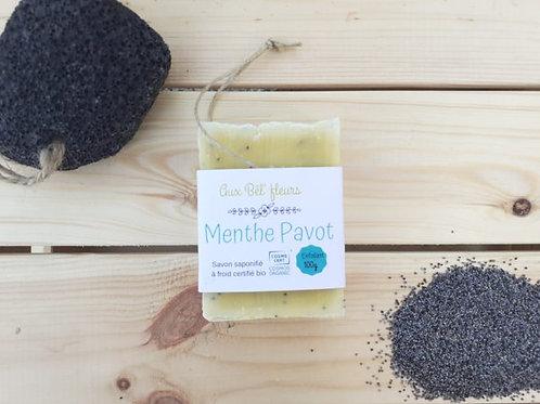 Savon artisanale Bio exfoliant menthe/pavot Aux Bels'Fleurs