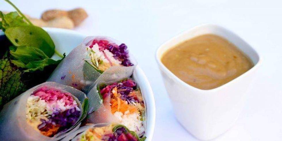 atelier cuisine : graines germées et rouleaux de printemps bio et végétariens!