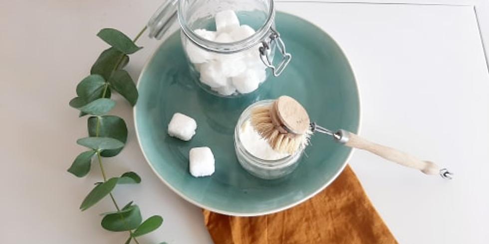 atelier écologique : j'apprends à faire mon cake vaisselle/pastilles lave-vaisselle et nettoyant mutli-usages et tawashi