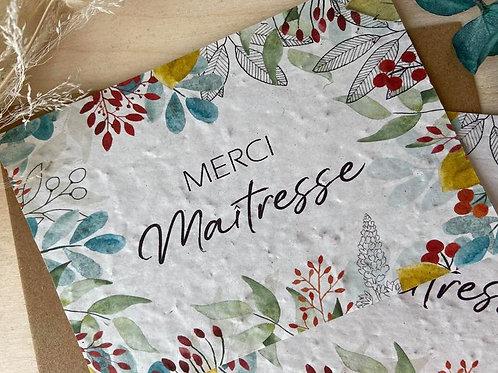Merci MAÎTRE/ MAÎTRESSE Carte  en papier ensemencé à planter