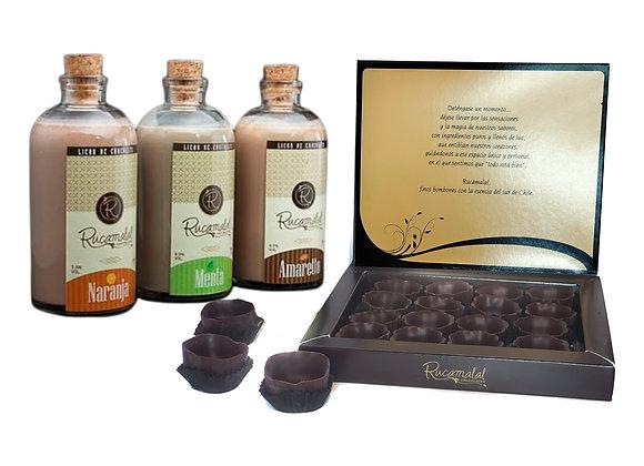 Set de licor con vasitos de chocolate