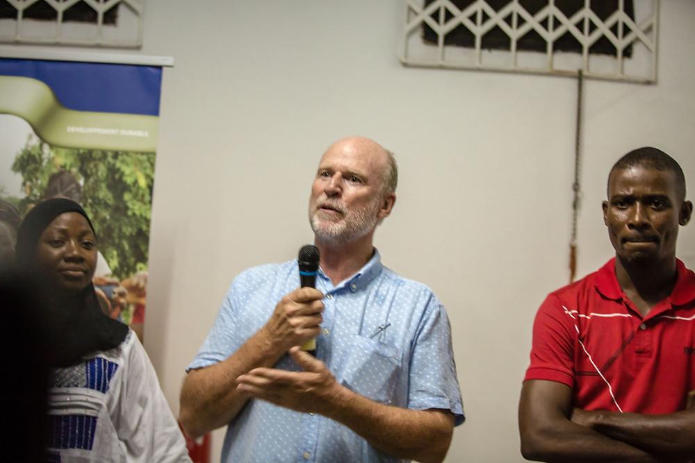 Paul Kitto, group exploration manager of Newcrest Mining West Africa, Naminata Kramoko, Bosse Martial