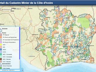 MINERAL CADASTRAL MAP OF IVORY COAST - NOW ONLINE - CADASTRE MINIER DE CÔTE D'IVOIRE - EN LIGNE