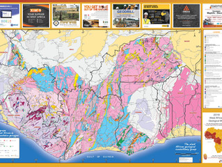 WEST AFRICA GEOLOGICAL MAP WITH LOCATION OF ADVANCED EXPLORATION PROJECTS  AND MINES