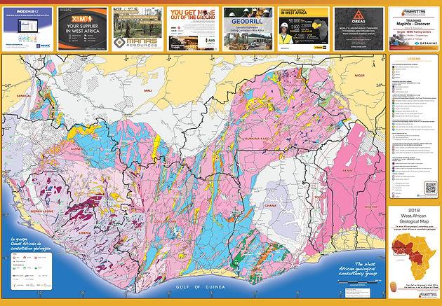 Geological map West Africa   Carte géologique Afrique de l'Ouest
