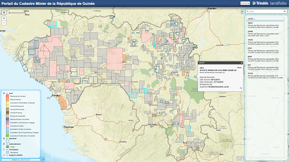 Screenshot of the mew online mineral cadastral map of Guinea