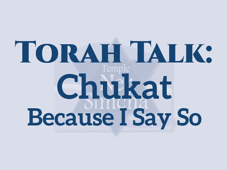 Torah Talk – Chukat:  Because I Say So