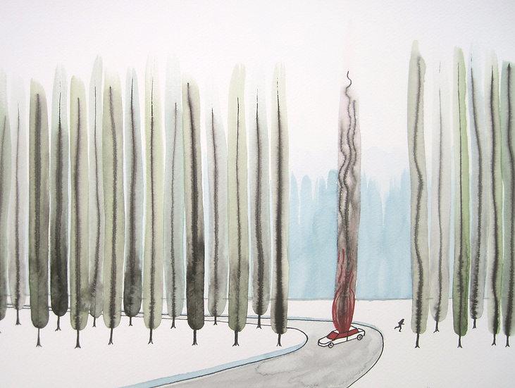 F. J. v.d.Laan, BRANDENDE AUTO, 2013, 30 x 40 cm.