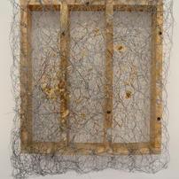 Filter. Found Wood, Chicken Wire, Cardboard Pulp Traces