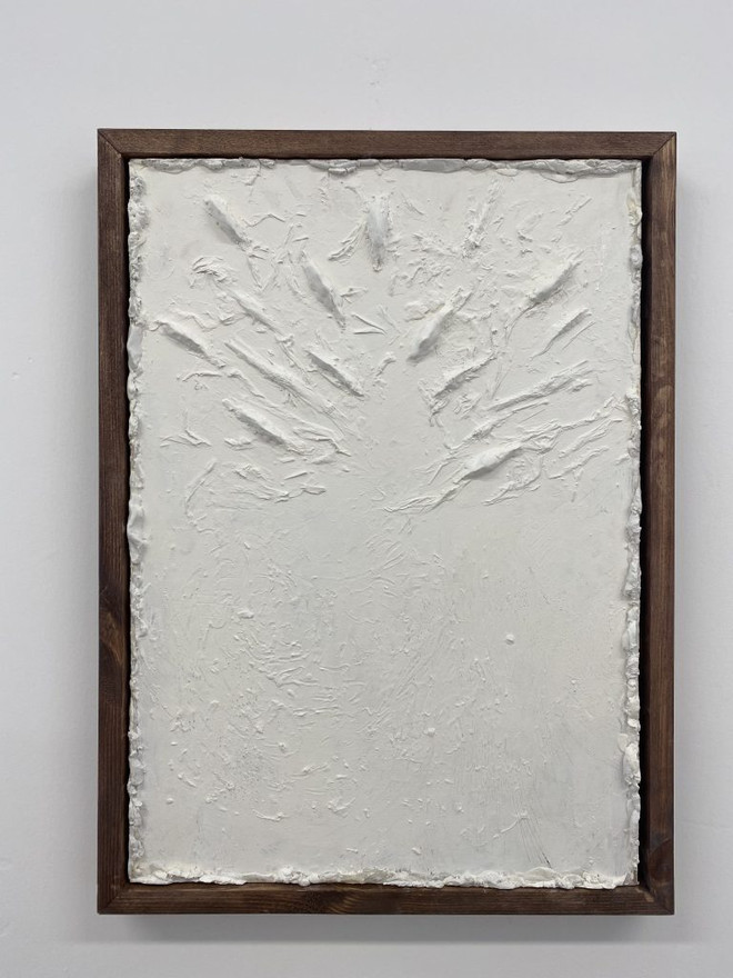 Newspaper, Plaster, Household Paint, Frame Made with Found Wood