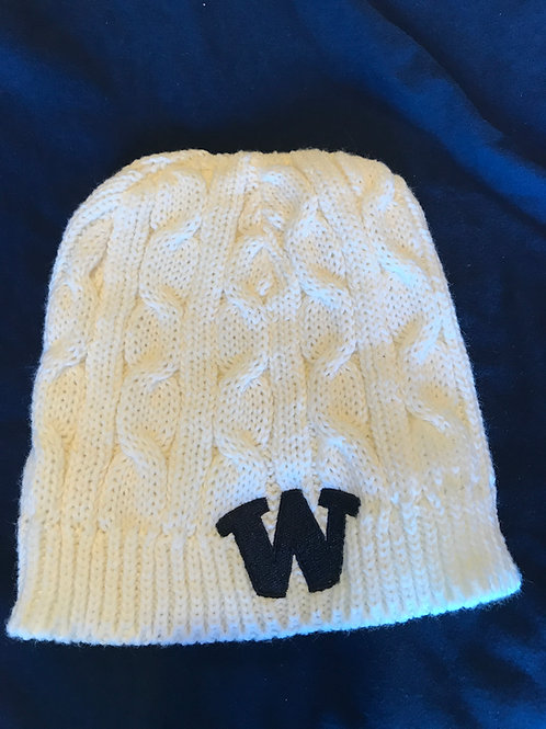 Ladies Cable Knit Hat with Embroidered W