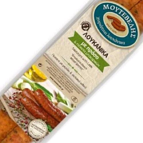 Leek, herbs & spices stuffed pork sausages 400gr Moutevelis