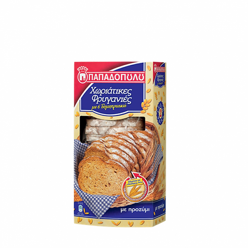 Thin Traditional Rusks Papadopoulou 6 cereals 240gr - Friganies Horiatikes