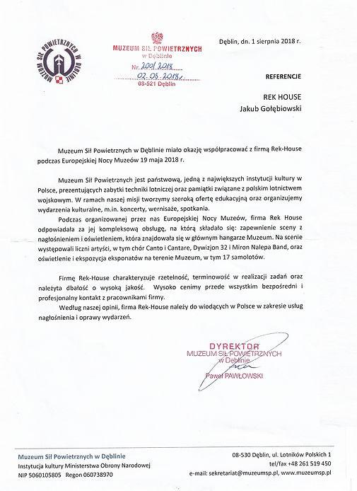 Referencje od Dyrektora Muzeum Sił Powietrznych.