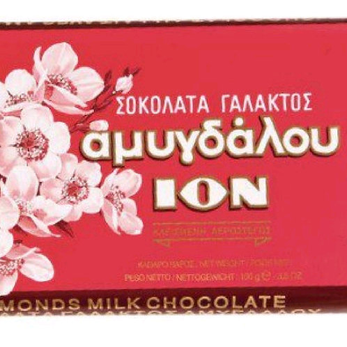 ION Amigdalou - MiIk Chocolate with whole almonds 200gr