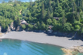 Aerial view of Halibut Cove Cliffside Cottages
