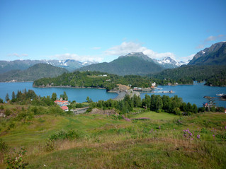 View of both inside and outside Halibut Cove from the top of Ismailof Island