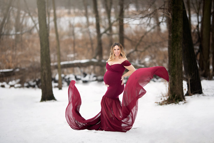 snow maternity red gown