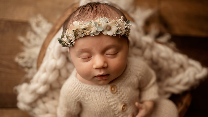 cream floral baby girl newborn