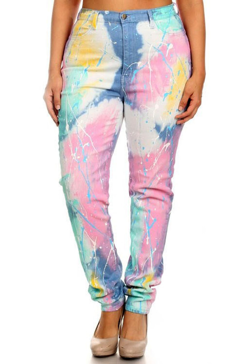 Light Bright Colored and Paint High Waist Jeans | Lux and Labels ...