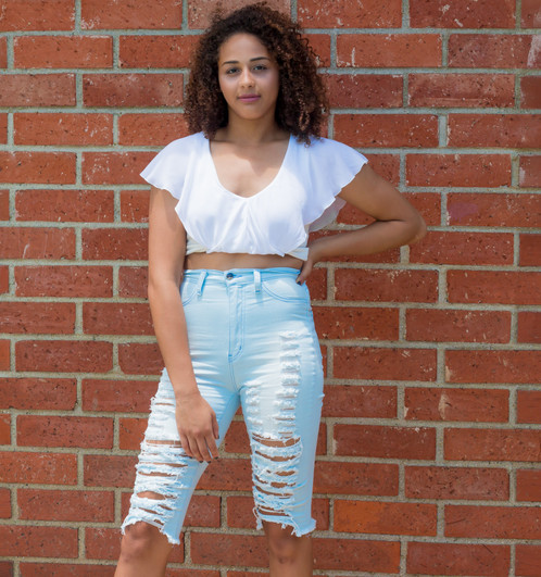 Distressed Light Blue High Waist Long Bermuda Shorts | Lux and ...