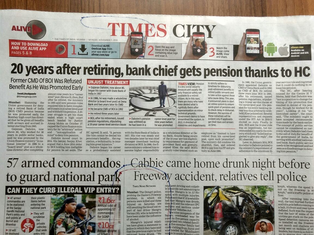 Times City News paper covers G S Dahotre Story about struggle to get pension