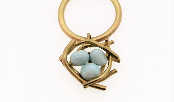 """""""which came first..."""" 18ct gold, fine silver with enamel"""