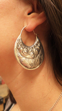 Silver earrings chasing and repouse