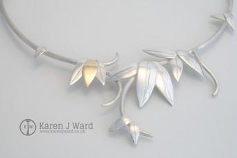 Sun neckpiece. Sterling silver & 9k gold