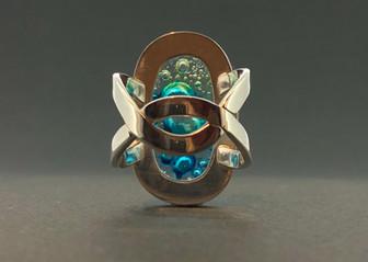 Blue-green bubble glass sterling silver