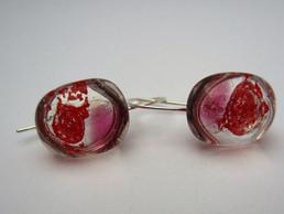 Red bubble glass earrings set on sterlin