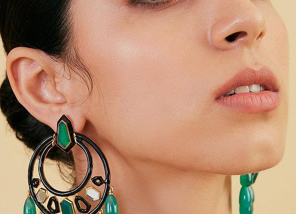 ISHARYA Borderless Ivy Moon Bali Earrings worn.