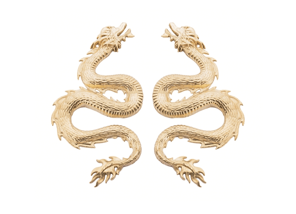 Dragon earrings in small size of NATIA X LAKO front view.