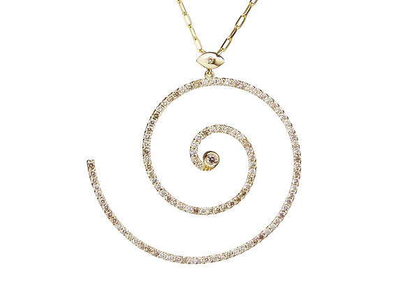 TSURA Pavé Spiral Necklace front view.