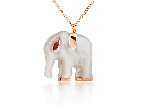 CÉDILLE White Nacre Elephant Necklace front view.