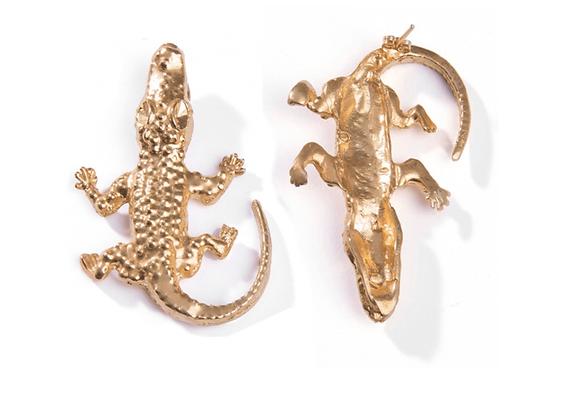 NATIA X LAKO Small Lizard Earrings front view.