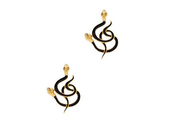 NATIA X LAKO Black Gold Snakes Earrings front view.