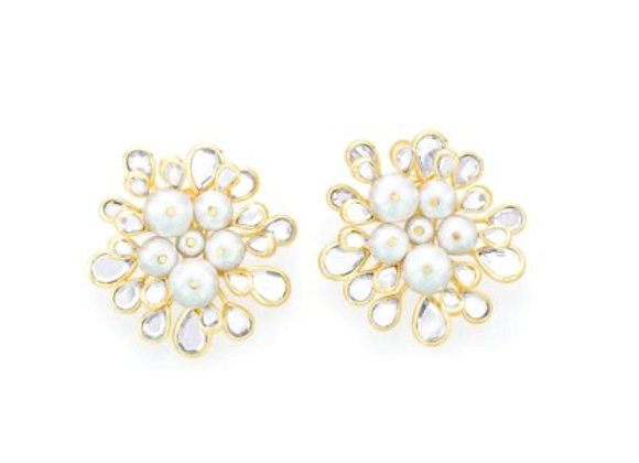 Limelight Cluster Of Pearls Statement Stud Earrings front view
