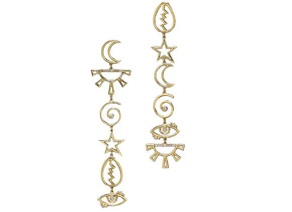 TSURA 6 symbol earrings front view.