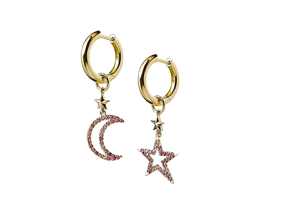 TSURA Pave Moon and Star Charm on Hoops front view.